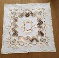 Fallen leaves Hardanger mat chart Hardanger mat with cross-stitch and speciality stitches. Hardanger Embroidery, Embroidery Stitches, Paper Embroidery, Doily Patterns, Beading Patterns, Dress Patterns, Cotton Crochet, Crochet Doilies, Christmas Crochet Blanket