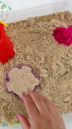 We came across this play recipe by accident and are in love!! It has the consistency of damp beach sand and is even moldable!! All the ingredients are taste-safe, making it great for toddler sensory play. Older kids love it, too! It's great in a sensory table or for a preschool beach theme.