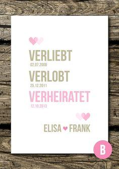 Gastgeschenke - Druck/Wandbild: Verliebt, verlobt, verheiratet - ein Designerstück von DiePersoenlicheNote bei DaWanda