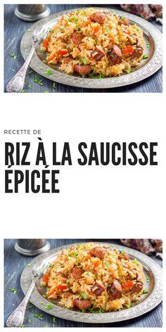 Recette de Riz à la Saucisse Épicée #recettederiz #rizepicee #platepicee #rizetsaucisse #recettedesaucisse Rice Recipes, New Recipes, Ajouter, Parents, September, Food And Drink, Pork, Pizza, Menu