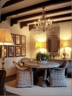 image via Cote de Texas. Love this dining room. Table And Chairs, Wicker Chairs, Wicker Table, Dinning Chairs, Rattan, Dining Area, Dining Rooms, Cottage, Living Spaces