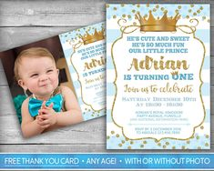 Prince Birthday Invitation Boy 1st First Birthday Navy Blue Gold
