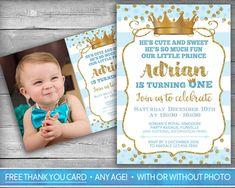 Prince Invitation | Little Prince First Birthday | Boy First Birthday Invitation | Blue Gold | Crown | Royal Party Invite | Photo Invitation | Digital Invitation