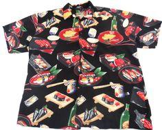 Tori Richard Sushi Hawaiian Button Up Shirt Mens Large Black Short Sleeve #ToriRichard #Hawaiian