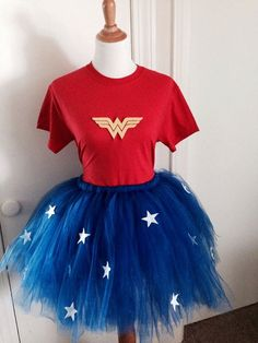 4+Piece+Wonder+Woman+top+and+tutu+skirt+by+KeyToMyHeartCreation,+$38.00