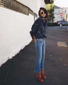 Un jean cropped et flare