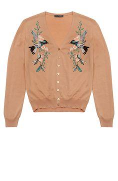 Blush Hummingbird Embroidered Cardigan
