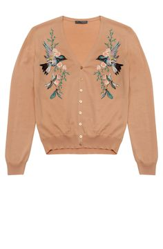 Alexander McQueen Blush Hummingbird Embroidered Cardigan. A case for hand embroidery!