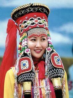 The lady full dress of Mongolian costume.