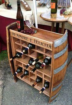 Wine Rack from Wine Barrel Wine Shelves, Wine Storage, Barrel Projects, Wood Projects, Do It Yourself Einrichtung, Wine Barrel Crafts, Barris, Wine Barrel Furniture, Wine Display