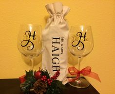Set of Personalized Wine Glasses and Wine Bag Gift Set, Wedding Gift, Doctor Gift, Newly Weds, Wine Glass Gift Set by UniquelyHether on Etsy https://www.etsy.com/listing/259648565/set-of-personalized-wine-glasses-and