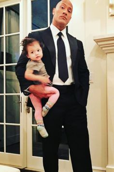 We Can't Tell Which Is Sweeter: Dwayne Johnson in a Suit or in Dad Mode