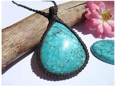 Turquoise Kette/Inneres Kind/Blaue Steinkette/Makrame