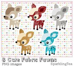Cute Fabric Fawns Clipart set by SparklingTea.deviantart.com on @deviantART