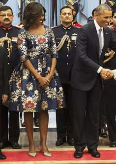 Michelle Obama Wears Three Vibrant Outfits in India.We are always impressed over how many amazing looks FLOTUS can cram into such a short trip, and can't wait to see what she pops up in next
