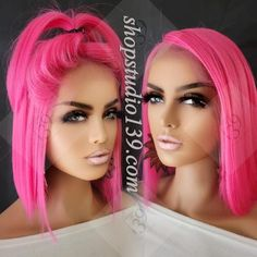 Blonde Bob Wig, Blonde Bobs, Pink Wig, Pink Lace, Lace Front Wigs, Bob Hairstyles, Hot Pink, Hair Styles, Color
