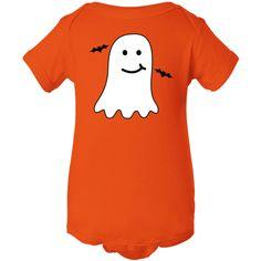 Ghost and bats Halloween Infant Creeper cute holiday design. $16.99 www.homewiseshopperkids.com  #Halloween #ghost #cute