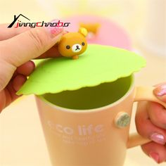 NEW Cartoon Healthy Silicone Cup Lid TOP ; Water Drinking Cup Cover TOP Anti-dust Cup Cover TOP CAP Closure Mug's Lid