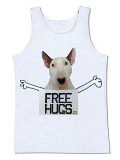 free hugs abraços grátis bull terrier cachorro placa camiseta camiseta divertida frases frase divertida