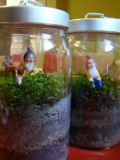 DIY gnome terrariums (the jars are from Ikea)