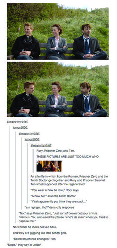 AU: Rory, Prisoner Zero and Ten have a conversation about what happened after Ten regenerated in the afterlife. @Robyn Cain I didn't know that the actress who played DS Miller was in DW! (Just another one of those: We're the BBC, we only have 50 actors (and 7 sets) things! ;) LOL) Yet another Tumblr post highjacked by Doctor Who...
