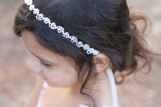 Flower Girl Headband Pearls and Lace White or Ivory Wedding Bridal, Christening, Child Headband Baby Girl
