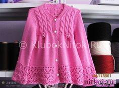 Розовая кофточка с косами | Вязание для девочек | Вязание спицами и крючком. Схемы вязания.