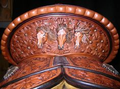 10 of the Fanciest Saddles That Are Sure to Turn Heads Leather Carving, Leather Art, Leather Tooling, Tooled Leather, Cowboy Gear, Cowboy And Cowgirl, Cute Horses, Beautiful Horses, Western Horse Tack