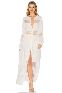 Shop for Yumi Kim Dream Weaver Maxi Dress in All White at REVOLVE. Free day shipping and returns, 30 day price match guarantee. White Dress With Sleeves, Dresses With Sleeves, Maxi Dresses, Button Front Dress, White Dress Summer, Denim And Lace, White Outfits, Revolve Clothing, 70s Fashion