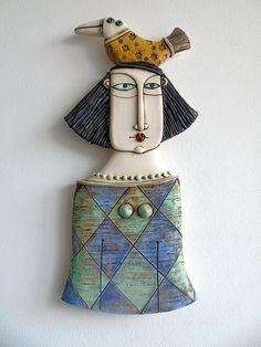 Handmade Ceramic Art Tile,Ceramic Sculpture ,Woman with bird,Wall art Slab Pottery, Ceramic Pottery, Pottery Art, Porcelain Ceramic, Thrown Pottery, Pottery Studio, Ceramic Mugs, Ceramic Bowls, Ceramic Wall Art