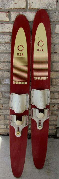 VINTAGE Wood Water Skis USA Tournament Brick Red Waterskis