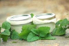 homemade toothpaste - this one is simple: just baking soda and coconut oil - those seem to be the two stable tooth care ingredients. She also adds an essential oil (spearmint)