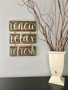 Renew Relax Refresh Spa Sign/Spa Art/Bathroom Art/Relax Sign/Bathroom Decor Sign/Spa Sign Set/Spa Decor by KobersCreations on Etsy https://www.etsy.com/listing/516944737/renew-relax-refresh-spa-signspa