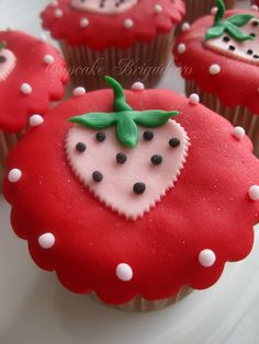 Pink and Red Strawberry Cupcakes
