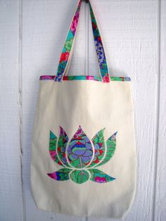 Lotus Flower Applique Tote Bag by CosmicGirlDesigns on Etsy