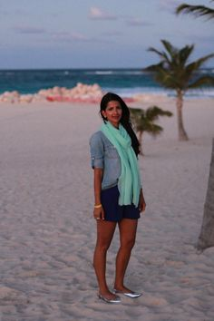 Beach look, high-waisted shorts, chambray top, mint scarf  #lovezahra