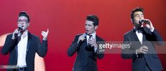 Italian group Il Volo performs on stage during...