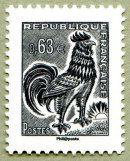 Coq de Decaris La Vème République au fil du timbre - Timbre de 2013