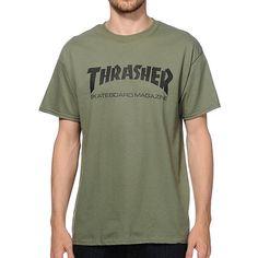 Thrasher Skate Mag T-Shirt ($25) via Polyvore featuring tops, t-shirts, green tee, green top, logo design t shirts and green t shirt