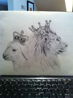 the lion and the lamb. drawn by: sasha dejoras Star Tattoos, Sleeve Tattoos, Thigh Tattoos, Tatoos, Christian Tattoos, Christian Art, Lamb Tattoo, Create My Tattoo, Lion And Lamb
