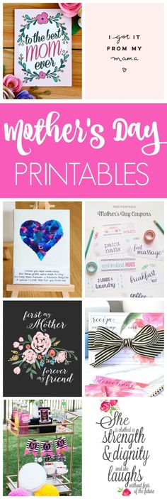 Get these gorgeous FREE Mother's Day Printables on prettymyparty.com.