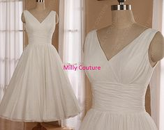 Sweetheart Halter tea length wedding dress marilyn by MillyCouture