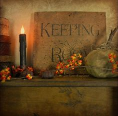 keeping room sign and display Halloween Signs, Fall Halloween, Halloween Decorations, Thanksgiving Decorations, Holiday Decor, Primitive Autumn, Country Primitive, Primitive Christmas, Prim Decor