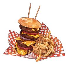 Yes, these are burger illustrations. Source: pixiv