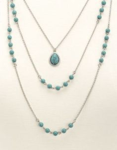 Triple Layered Turquoise Chain Necklace