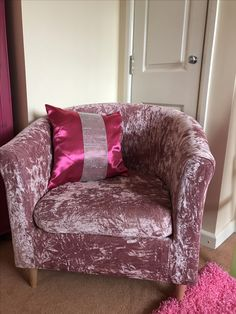 Recovered using stretch crushed velvet fabric costing £12 😃  #crushedvelvet #tubchair
