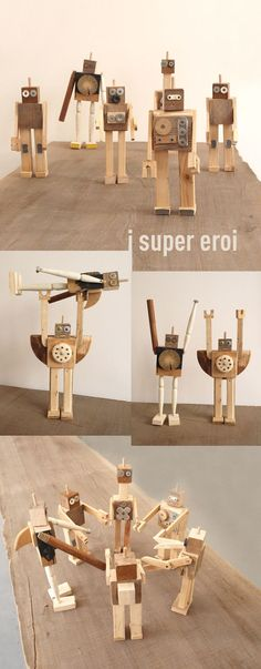 Creative and great wooden toy robots . Tri… Creative and great wooden toy robots …. she toy robot construct - Projects For Kids, Diy For Kids, Wood Projects, Gifts For Kids, Woodworking Projects, Diy Robot, Wood Gifts, Diy Gifts, Recycling