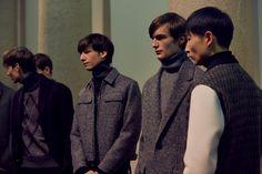 Neil Barrett AW15 backstage menswear Milan grey wool jackets