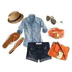 Shorts, camisa vaquera, complemenos anaranjados