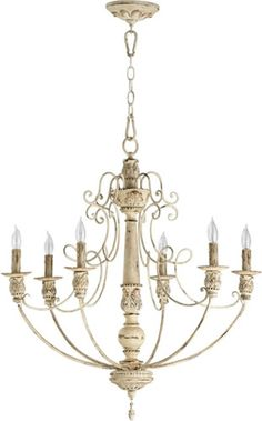 The Salento Chandelier by Quorum International adds a tasteful touch to any room. - Persian White Finish - Designed with a Transitional theme - Dimensions: 29.75 Height x 27 Width x 27 Depth - 6 x 60